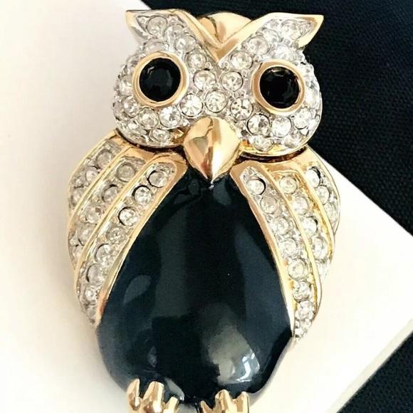 Vintage Swarovski Owl Pin Swan Signed 11Y